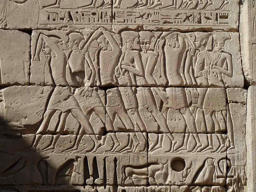 Relief commemorating the victory of Ramses III on his mortuary temple at Medinet Habu